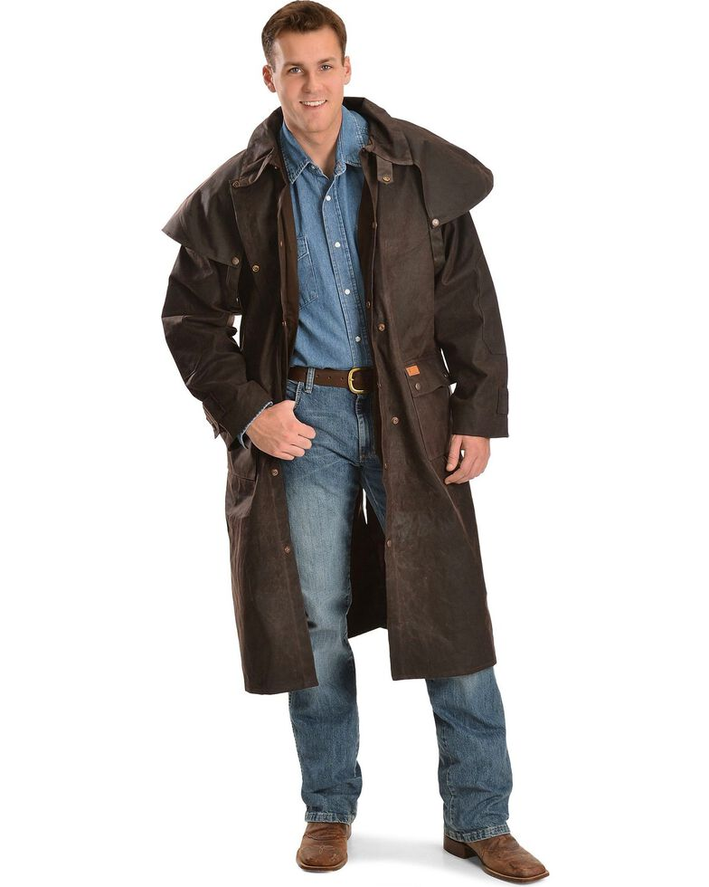 Outback Trading Co. Men's Long Oilskin Duster, Brown, hi-res