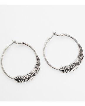 Shyanne Women's Feather Hoop Earrings, Silver, hi-res