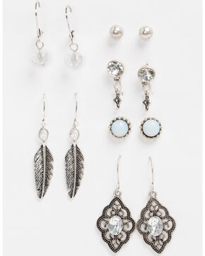 Shyanne Women's Bella Feather & Crystal 6 Pack Earring Set, Silver, hi-res