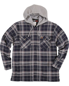 Wrangler Riggs Workwear Men's Navy Hooded Flannel Jacket , Navy, hi-res