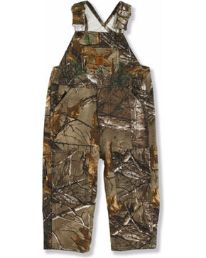 Carhartt Toddler Boys' Washed Realtree Xtra Bib Overalls, Dark Brown, hi-res