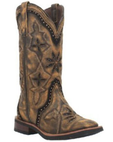 Laredo Women's Bouquet Western Boots - Wide Square Toe, Brown, hi-res