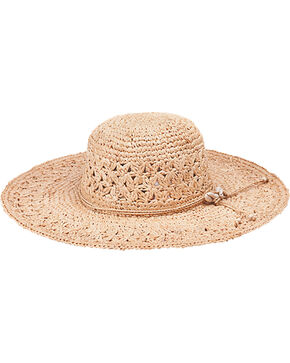 "Peter Grimm Bohemme 4 1/2"" Puka Shell Natural Raffia Straw Sun Hat, Natural, hi-res"