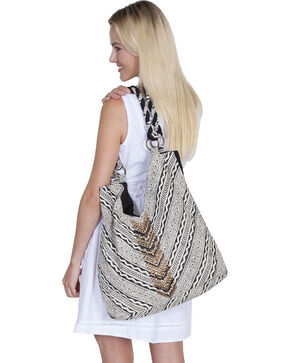 "Scully Cantina Collection Black and White ""V"" Cotton Handbag, Black, hi-res"