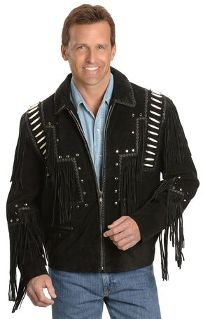 Liberty Wear Bone Fringed Leather Jacket - Big & Tall, Black, hi-res