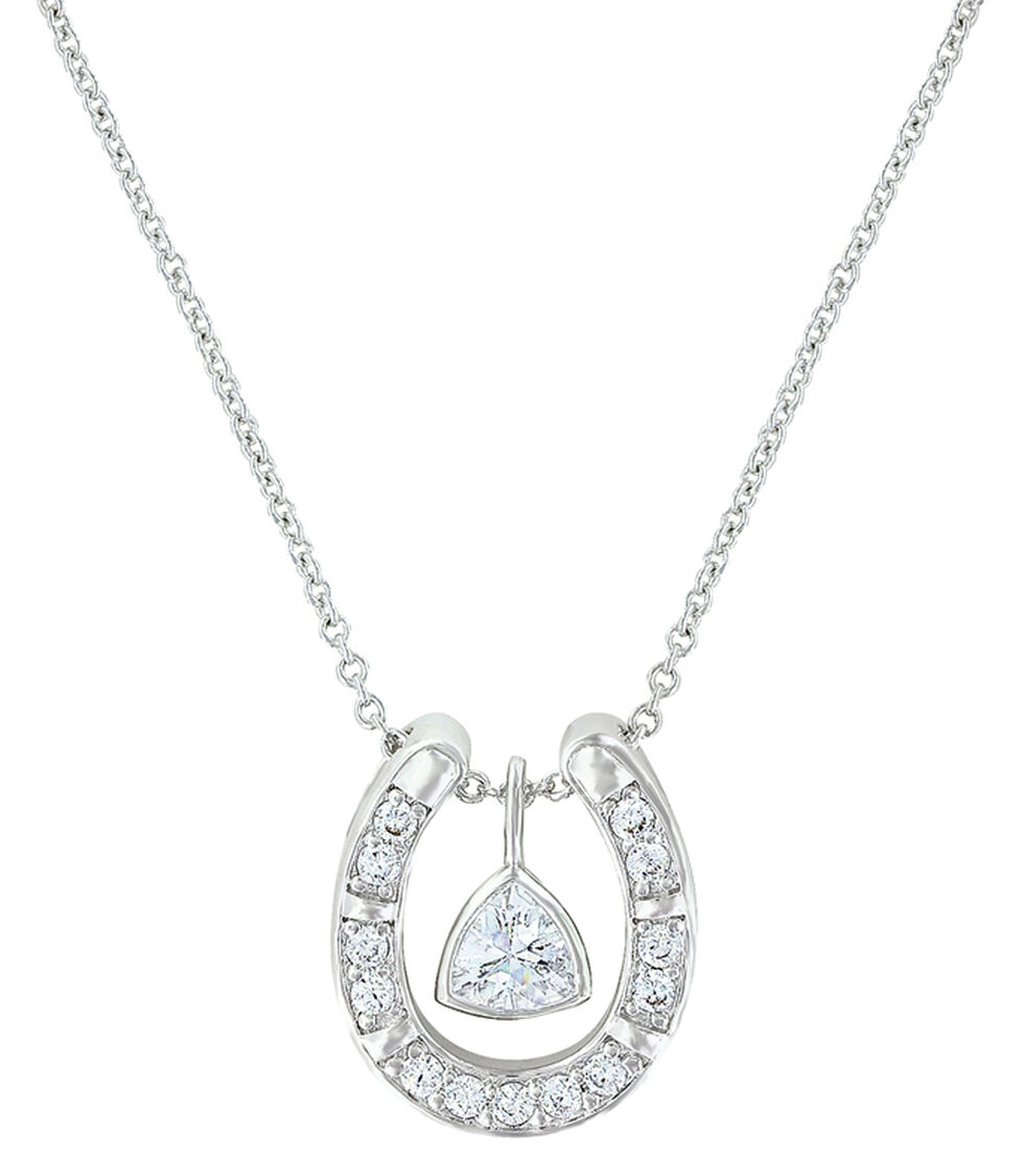Montana Silversmiths Women's Treasured Trillion Sparkling Horseshoe Necklace , Silver, hi-res