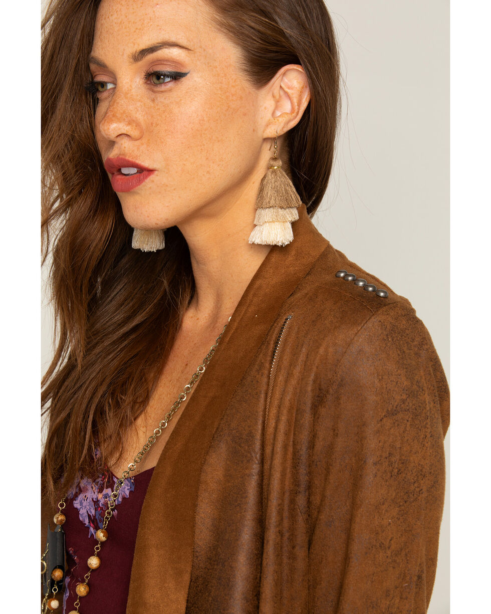 Shyanne Women's Adilene Tiered Tassel Earrings, Brown, hi-res