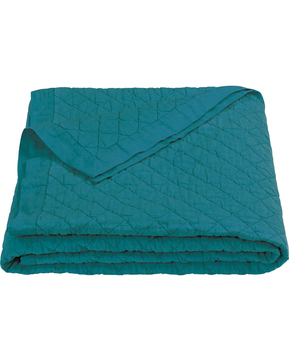 HiEnd Accents Diamond Pattern Turquoise Linen King Quilt, Turquoise, hi-res