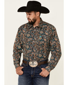 Cinch Men's Charcoal Floral Paisley Print Long Sleeve Button-Down Western Shirt , Charcoal, hi-res