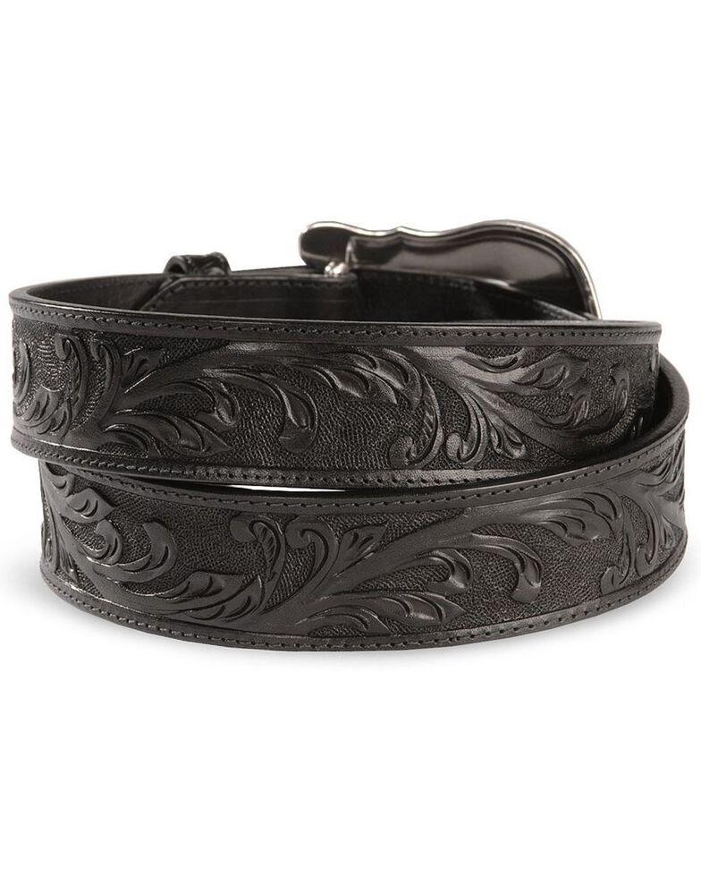 Tony Lama Western Ride Leather Belt - Reg & Big, Black, hi-res