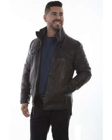Scully Men's Double Collar Leather Jacket , Chocolate, hi-res