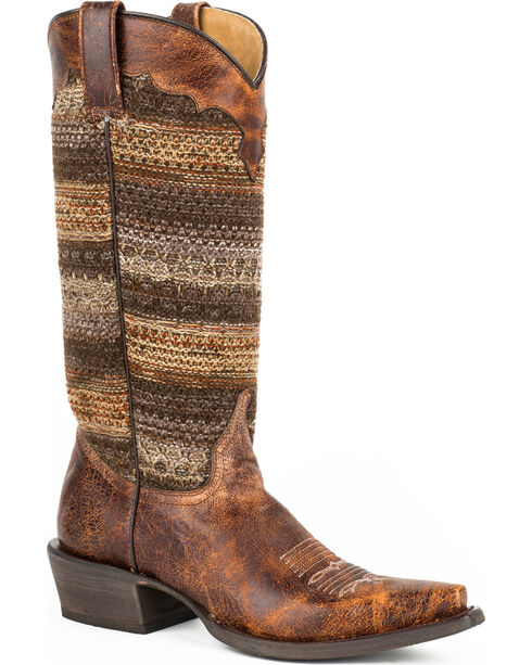Roper Brown Vintage Distressed Sweater Cowgirl Boots - Snip Toe, Brown, hi-res