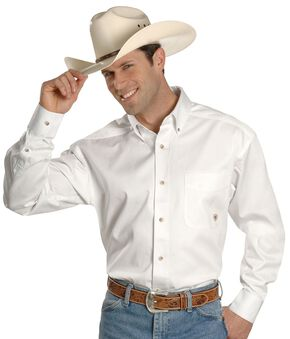 Ariat Twill Cowboy Shirt, White, hi-res