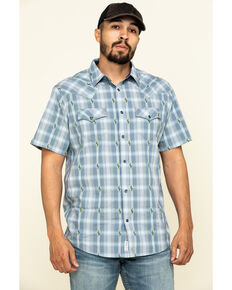 Moonshine Spirit Men's Cooler Cactus Plaid Short Sleeve Western Shirt , Blue, hi-res