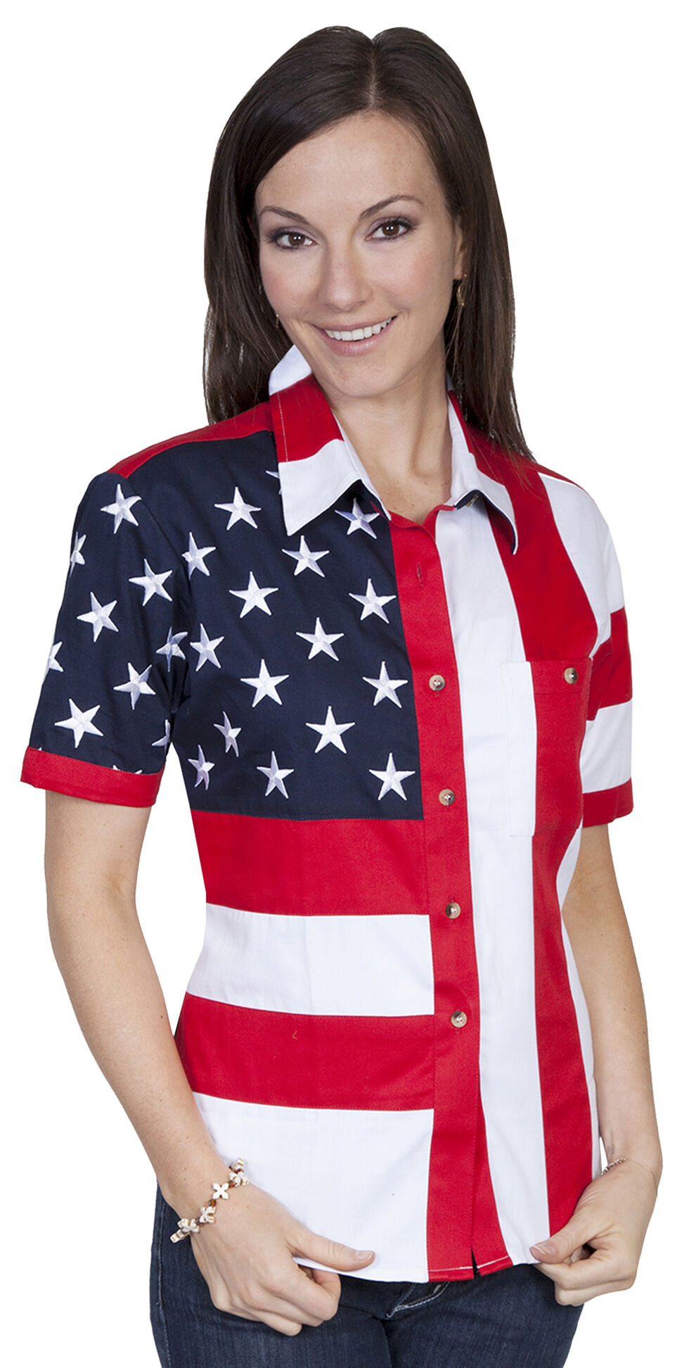 Rangewear by Scully Ladies Stars And Stripes Shirt, Red, hi-res