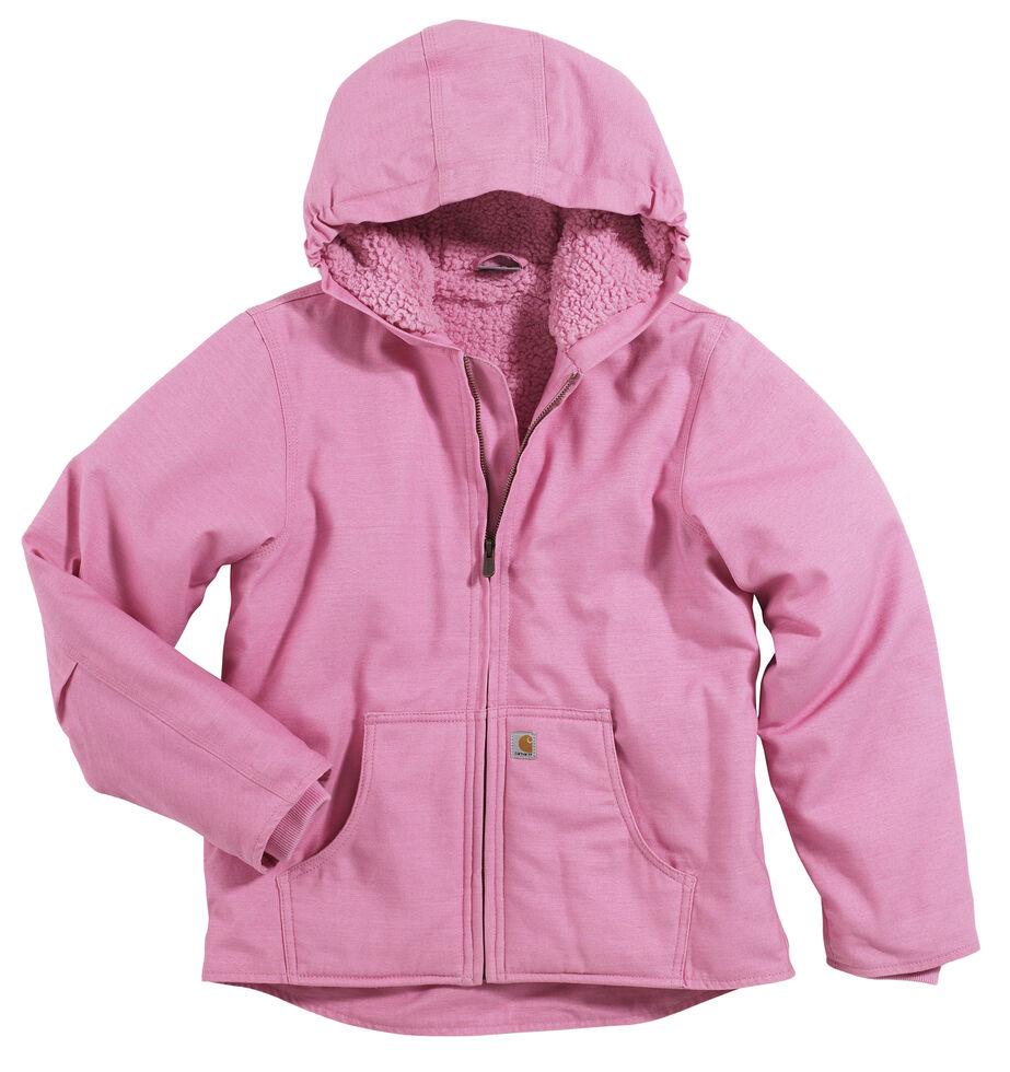 Carhartt Girls' Sherpa Lined Canvas Jacket - 4-7, Pink, hi-res