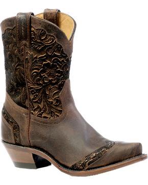 Boulet Art Barocco Calf Split Cowgirl Boots - Snip Toe, Wood, hi-res