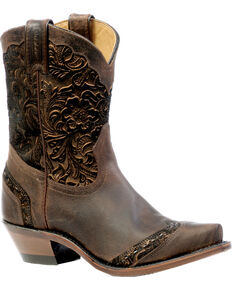 Boulet Art Barocco Calf Split Cowgirl Boots - Snip Toe, Wood, hi-res