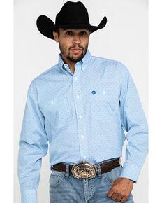 George Strait by Wrangler Men's Blue Small Dot Geo Print Long Sleeve Shirt - Tall , Blue, hi-res