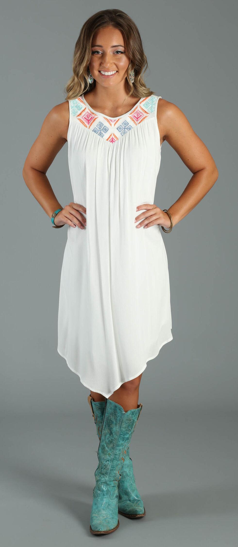 Wrangler Women's Applique Embroidered Sleeveless Dress, White, hi-res