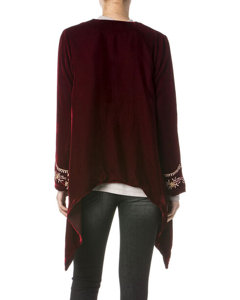 Miss Me Women's Embroidered Red Velvet Cardigan, Red, hi-res