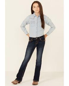 Rock & Roll Denim Girls' Dark Wash V-Pocket Extra Stretch Bootcut Jeans , Dark Blue, hi-res
