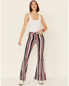 Shyanne Women's American Stripe Flare Leg Jeans, Red, hi-res