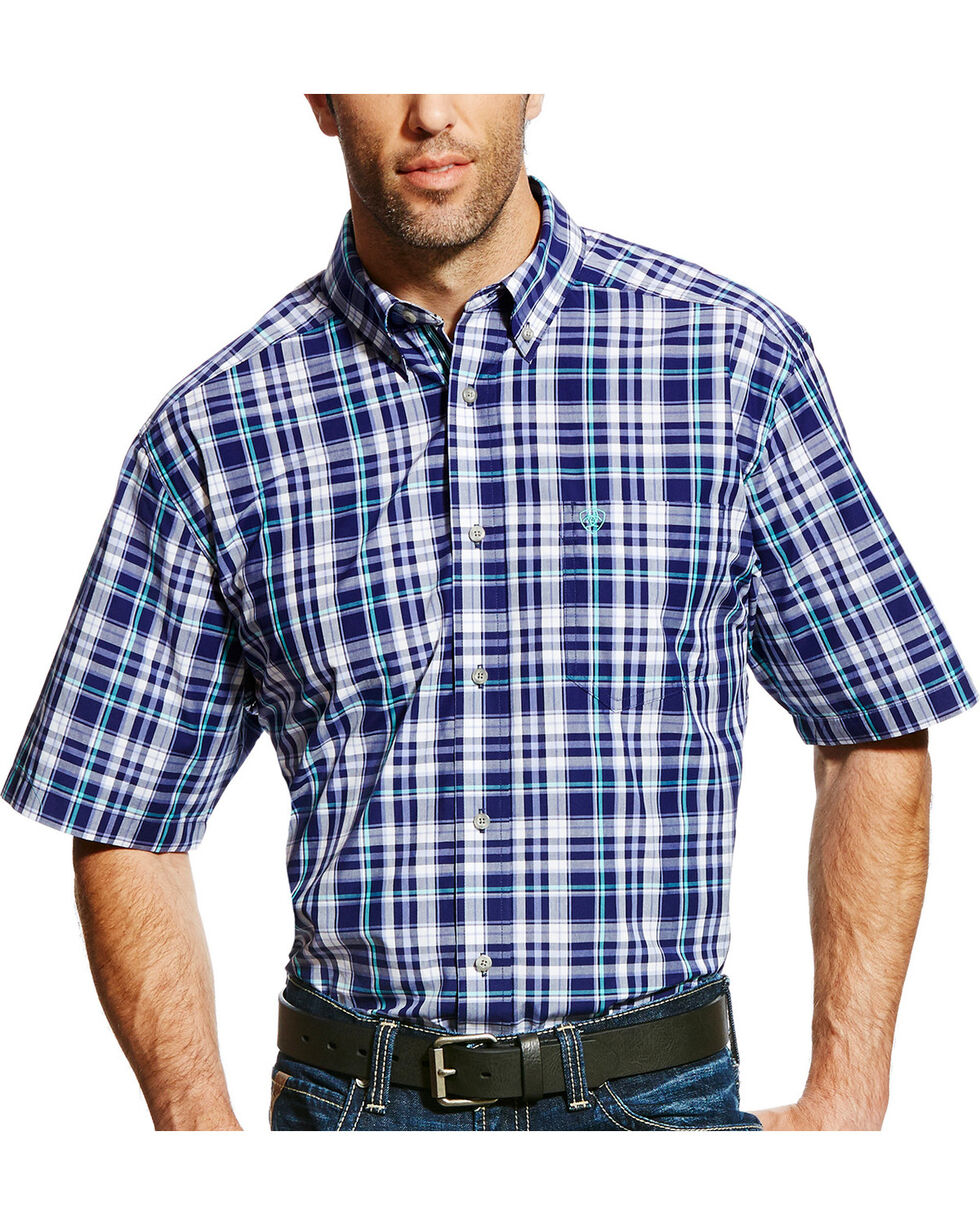 Ariat Men's Pro Series Easton Plaid Short Sleeve Shirt, Purple, hi-res