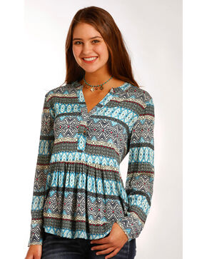 Panhandle Women's Southwestern Print Challis Tunic Top , Multi, hi-res