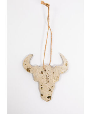 BB Ranch Gold Cowhide Cow Skull Ornament, Gold, hi-res