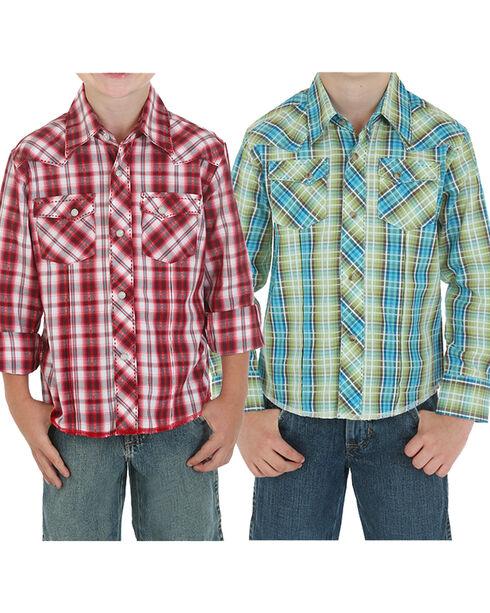 Wrangler Boys' Plaid Assorted Long Sleeve Western Shirt , , hi-res
