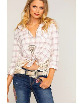 Shyanne Women's Plaid Long Sleeve Shirt with Lace Sides, Ivory, hi-res