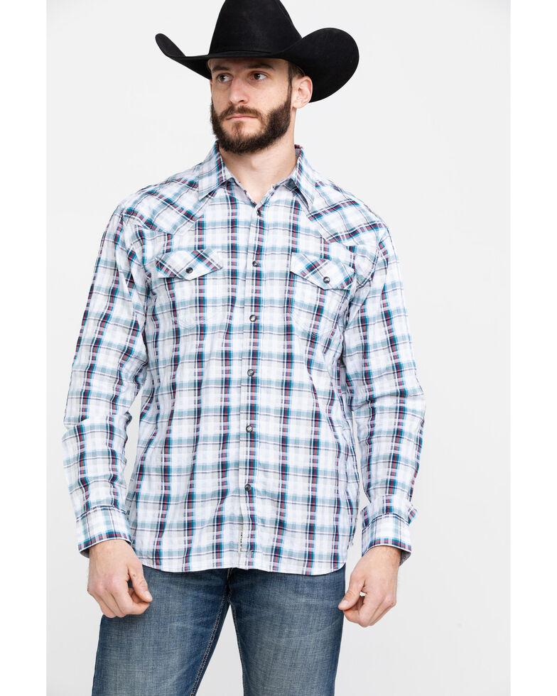 Moonshine Spirit Men's Fireball Plaid Long Sleeve Western Shirt , White, hi-res