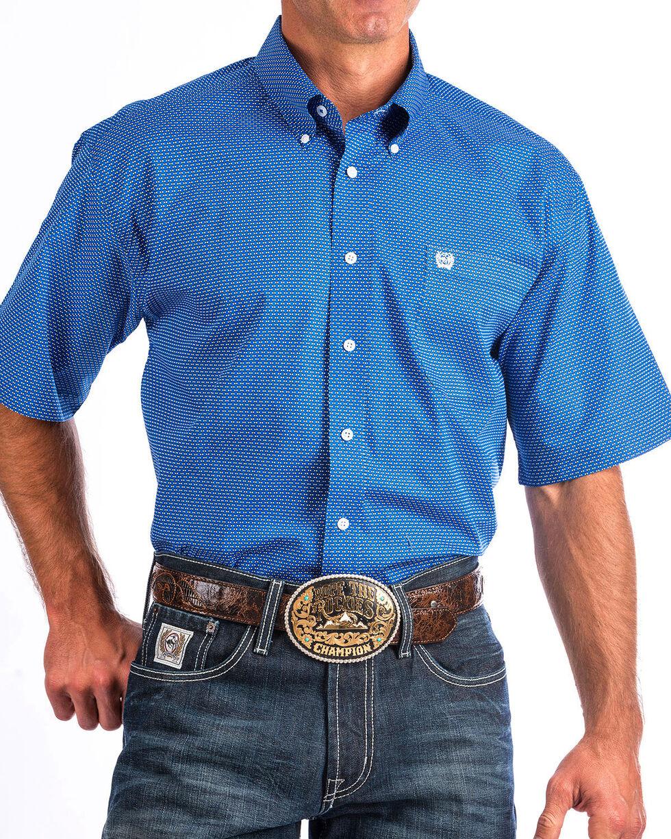 Cinch Men's Blue Print Short Sleeve Button Down Shirt, , hi-res