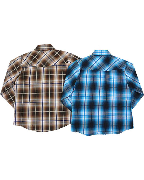 Ely Cattleman Boys' Textured Plaid Western Shirt , Multi, hi-res