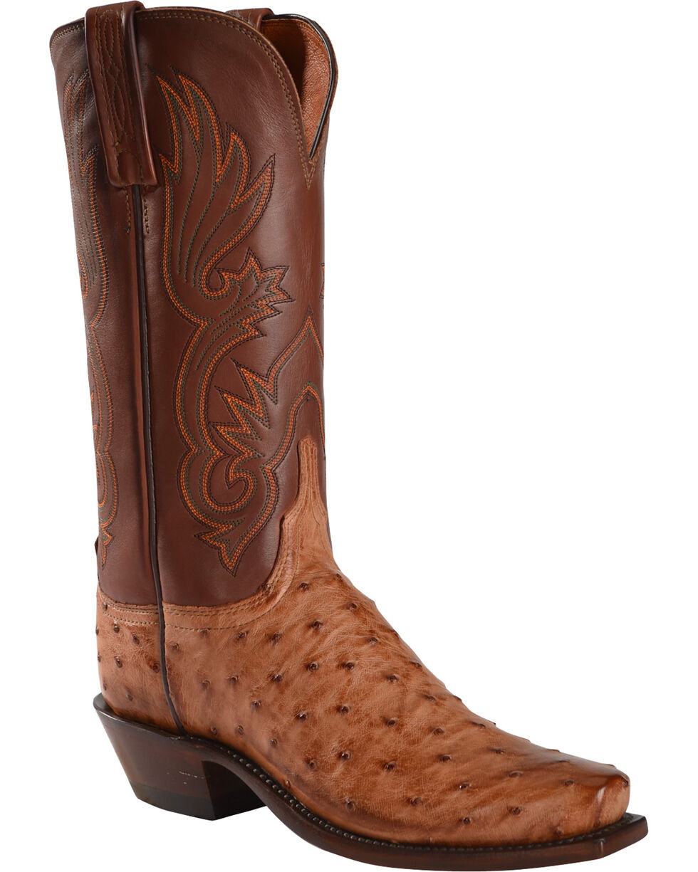 Lucchese Women's Handmade Brown Dolly Full Quill Ostrich Western Boots - Square Toe, Brown, hi-res