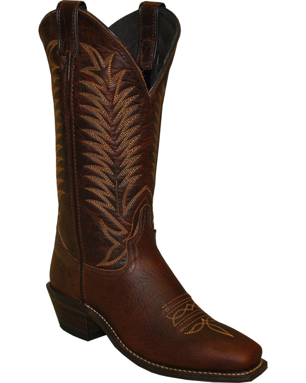 "Abilene Women's 12"" Bison Western Boots - Square Toe, Brown, hi-res"