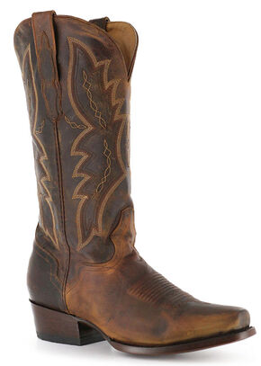 El Dorado Handmade Distressed Goat Cowboy Boots - Square Toe, Brown, hi-res