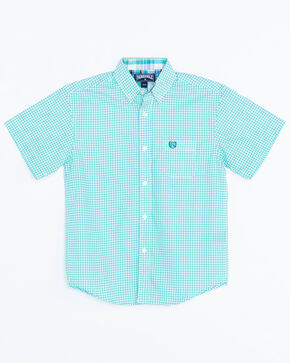 Panhandle Boys' Peached Poplin Print Snap Short Sleeve Western Shirt , Turquoise, hi-res
