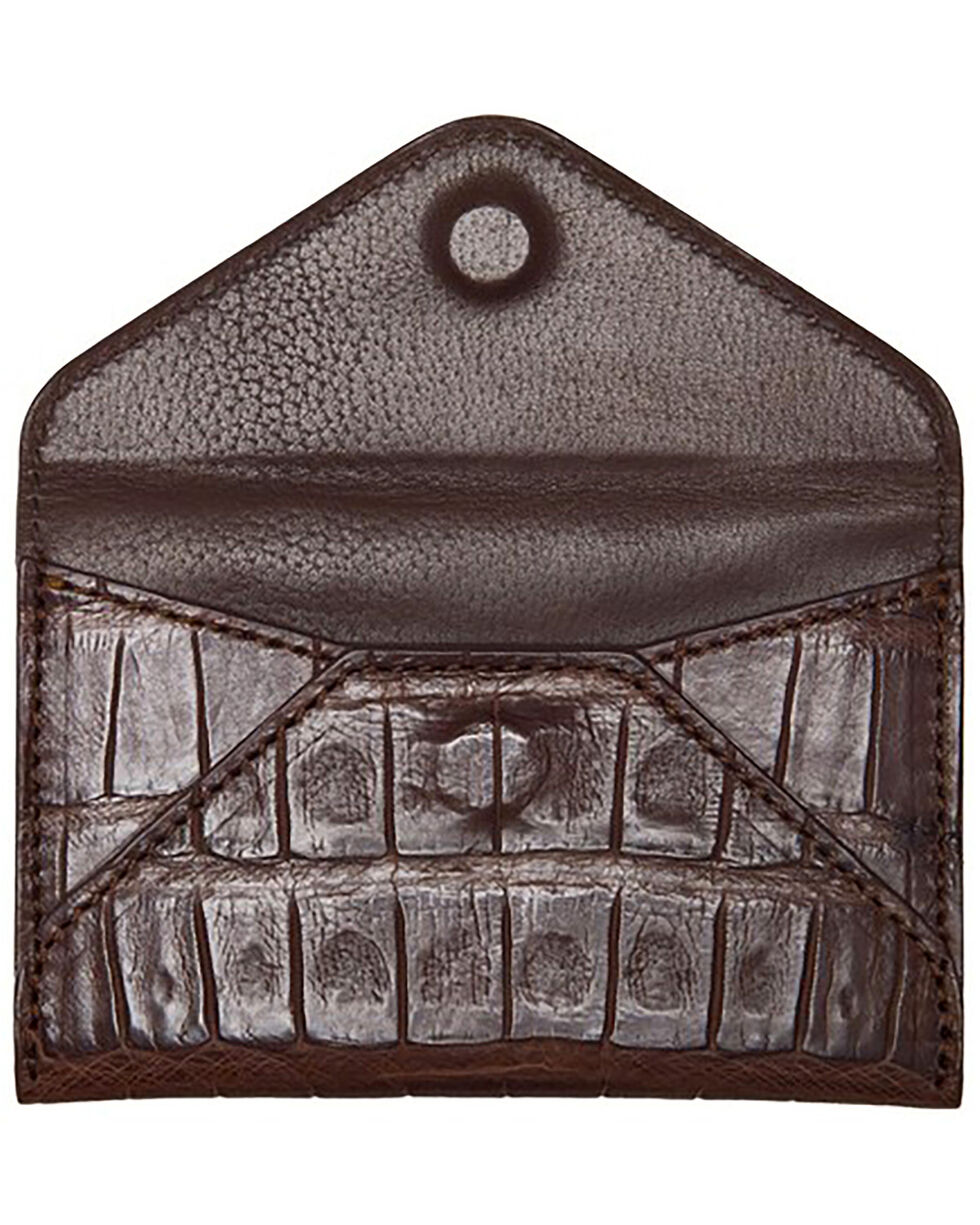 Lucchese Men's Sienna Crocodile Business Card Case, Brown, hi-res
