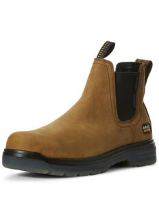 Ariat Men's Turbo Chelsea Waterproof Work Boots - Carbon Toe, Brown, hi-res