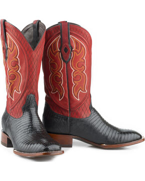 Stetson Men's Black Teju Lizard Cowboy Boots - Square Toe , Black, hi-res