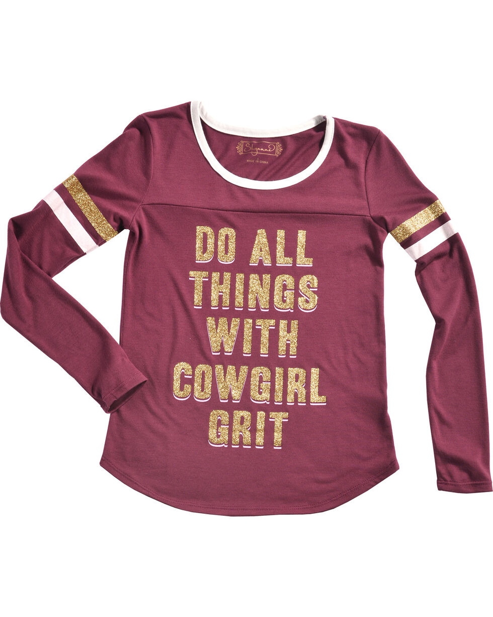 Shyanne Girls' Do All Things Glitter Knit Shirt, Pink, hi-res
