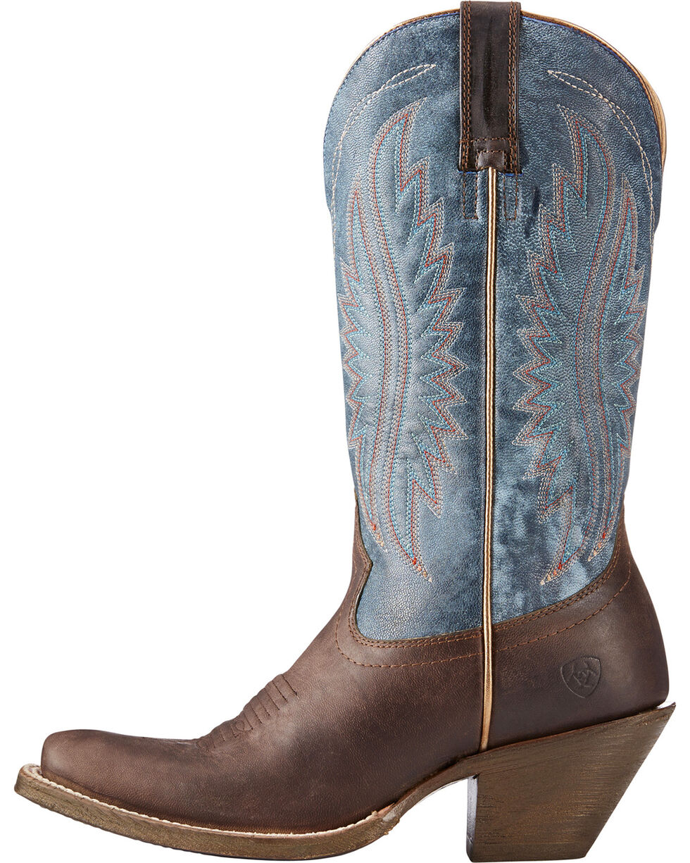 Ariat Women's Circuit Salem Buckaroo Brown/Denim Cowgirl Boots - Square Toe, Brown, hi-res