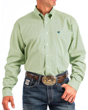 Cinch Men's Lime Print Long Sleeve Western Shirt , Light Green, hi-res