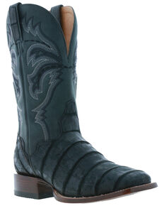 El Dorado Men's Black Caiman Leather Western Boots - Wide Square Toe, Black, hi-res