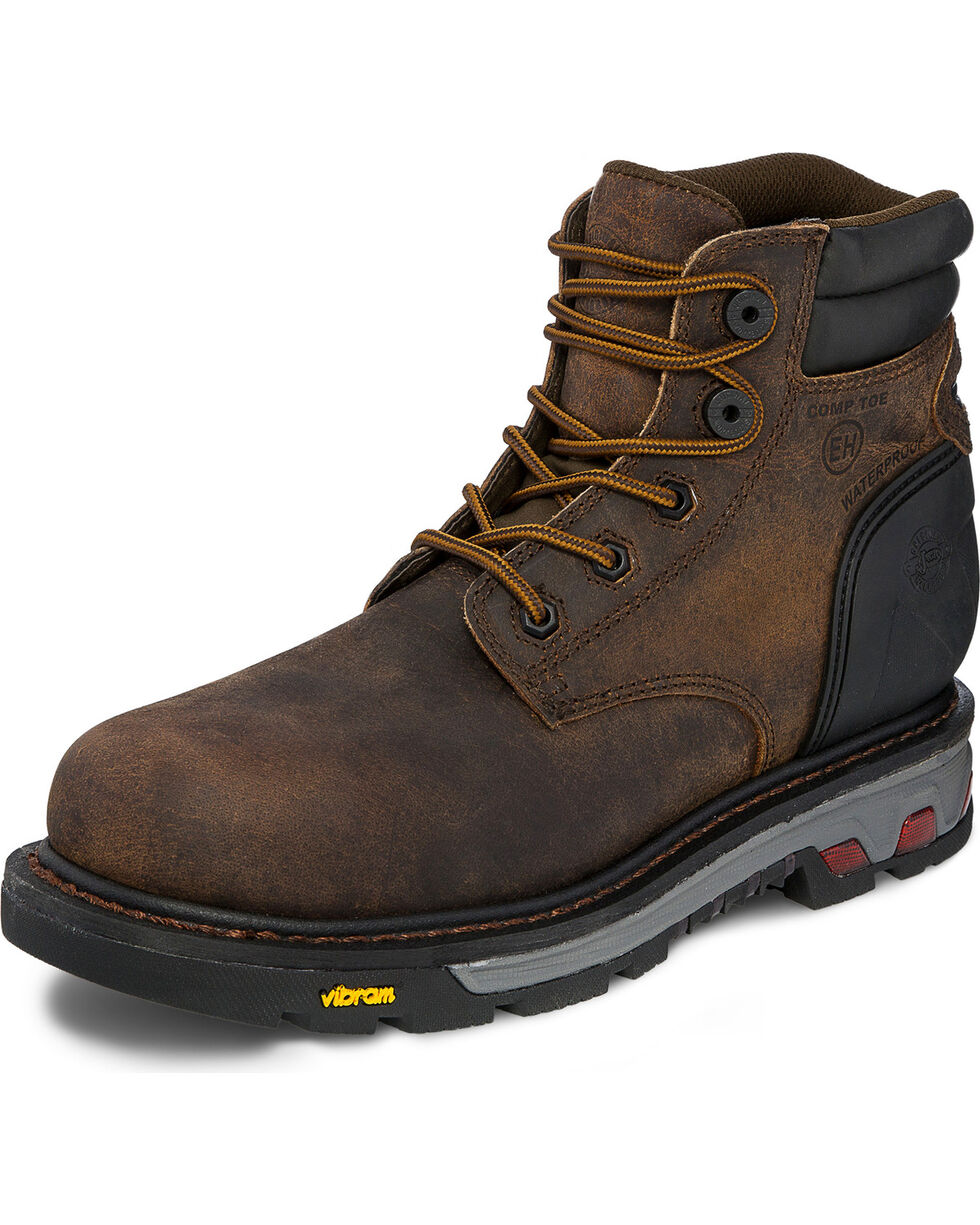 "Justin Men's 6"" Laborer Brown EH Waterproof Work Boots - Nano Comp Toe, Brown, hi-res"