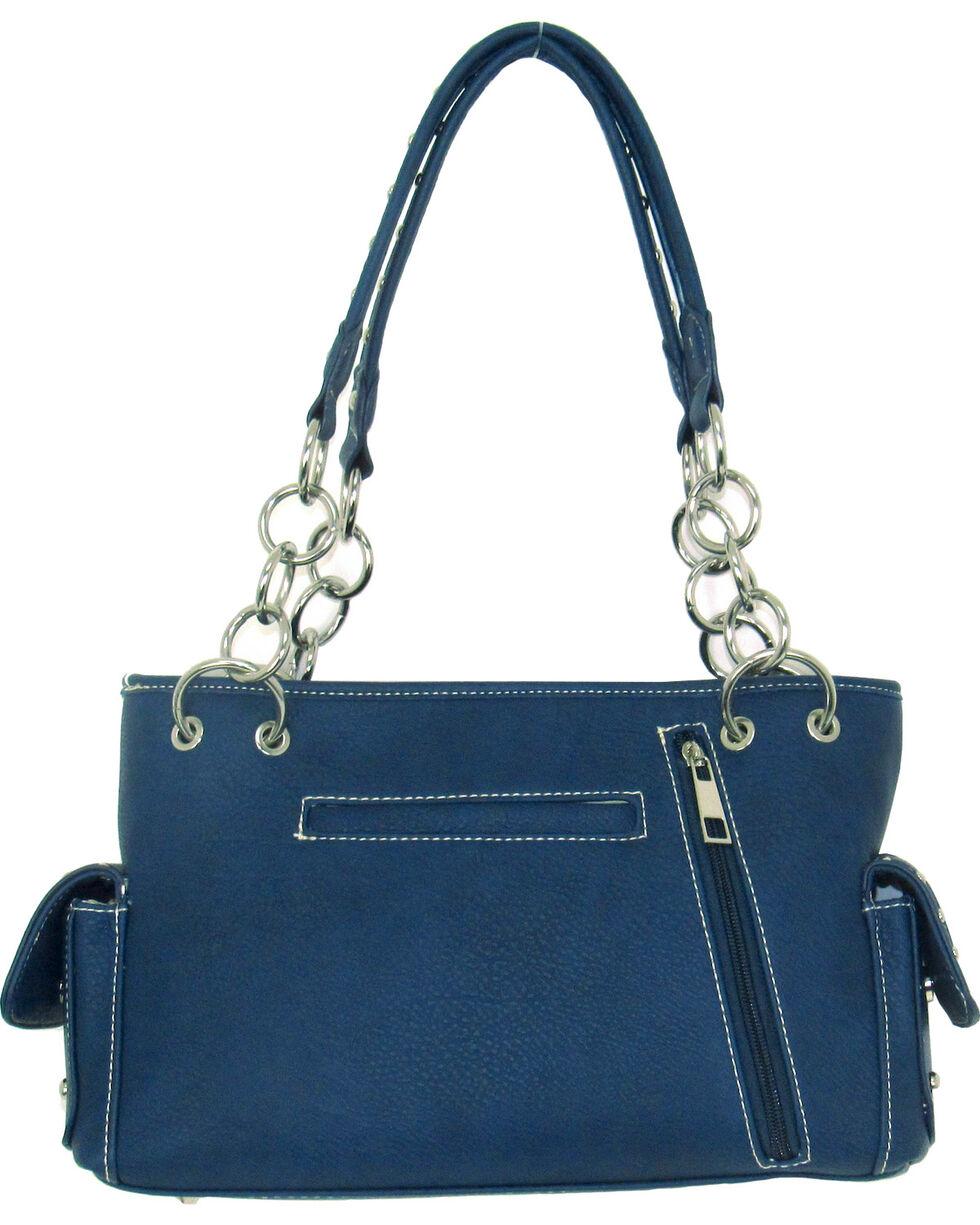 Savana Women's Blue Faux Leather Conceal Carry American Flag Handbag, Blue, hi-res