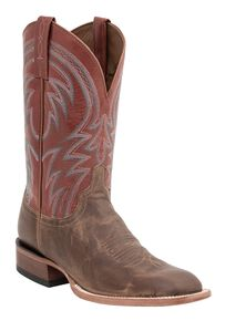 Lucchese 1883 Alan Smooth Cowboy Boots - Square Toe, Tan, hi-res