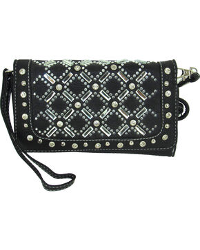 Savana Women's Tri-Fold Embellished Wallet , Black, hi-res